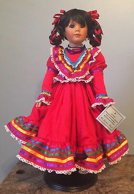 "Gabriella Cinco de Mayo Collectible Porcelain Doll DANBURY MINT 20"" Tall ~NEW~"