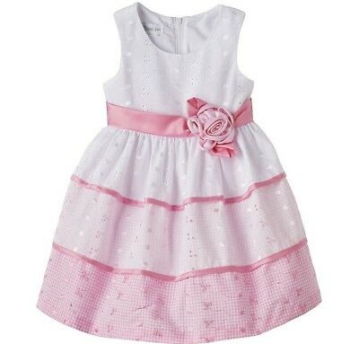 ff2b85034 Bonnie Jean Girls Spring Summer Dress Pink & White Eyelet Lace Toddler 2T  3T 4T