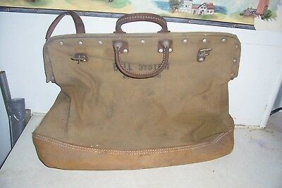 Vintage Bell System Industrial Lineman's Canvas Leather Tool Bag Bell Telephone