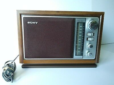 Vintage SONY ICF-9740W Woodgrain Tabletop AM/FM Radio LOOKS AND SOUNDS GREAT!