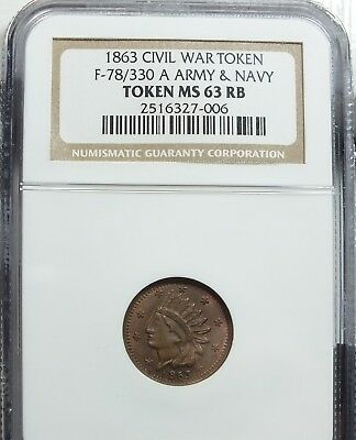 78/330a  NGC MS63RB...ARMY AND NAVY...NICE TONING!!!  RARITY 4