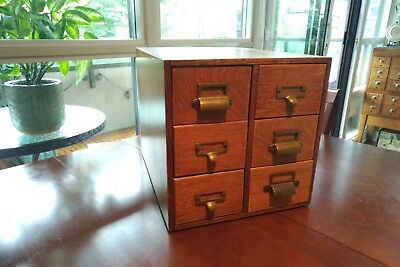 Antique 6 Drawer Library Index Card Catalog File Cabinet Vintage