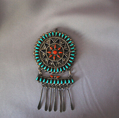 Vintage ZUNI Native American Silver Turquoise Silver Lois Tzuni Jewelry Brooch*
