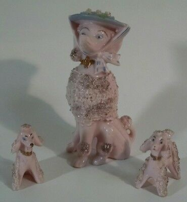 Vintage Pink Spaghetti Poodle Ceramic Figurine Set - Mom & Puppies Japan