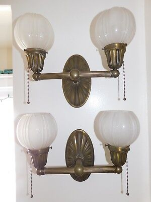 Antique Fixture Pair Cast Brass Double Arm Wall Fixtures 100 Years Old