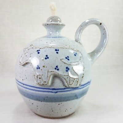 Vintage Signed Holmquist Pottery Oil Lamp w/Wick Cow Made in Minnesota USA