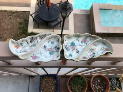 Pair Chinese Famille Rose Porcelain Dishes.