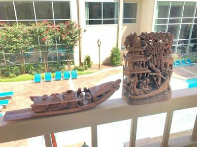 Two Vtg Hand Carved Wood/Bamboo Chinese Boat And Relief Visual Story.