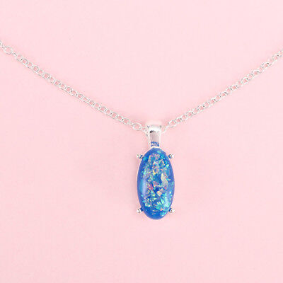Chain Gifts Pendant Silver-Plated Charm Women Oval Jewelry Blue Fire Necklace