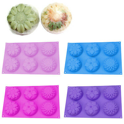 6 Cavity Flower Silicone Cookie Candy DIY Handmade Soap Candle Mold Mould KU