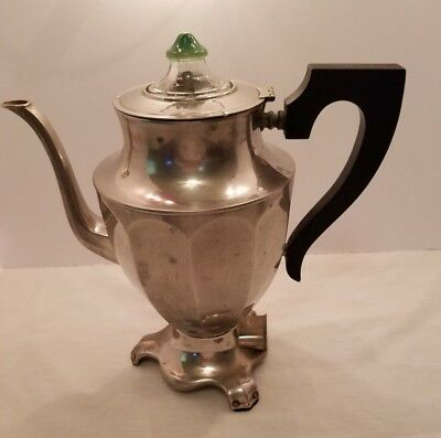 Vintage 1900s Hotpoint Percolator Edison Electric Coffee Pot Chrome Silverplate