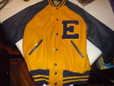 vintage letter jacket size 44 blue and yellow E high school ratrod
