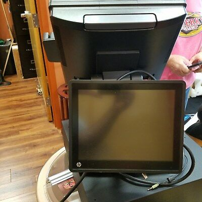 "HP RP7 COMPLETE RETAIL SYSTEM MODEL 7800 w/15"" touchscreen & 10"" customer screen"