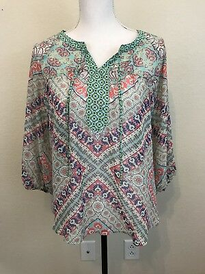 Anthropologie Fig Flower Tunic L Womens Multicolored Floral 3 4