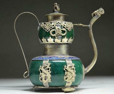 DELICATE SILVER DRAGON INLAID JADE HANDMADE CARVED MONKEY FLAGON TEAPOT b02
