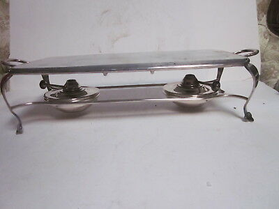 Antique Tw & S Silver Plated 6109 Medium Two Burner Serving Hot Plate