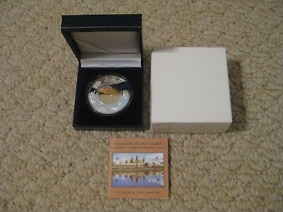 2001 Cambodia Angkor Wat Silver Proof Hologram Coin-The Wonders of the World-MIB
