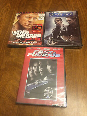 Action Movie DVD Lot Live Free and Die Hard Fast & Furious Miami Vice NEW SEALED