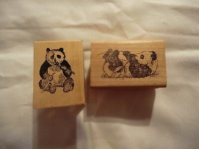 Panda Bear Rubber Stamps Lot of 2