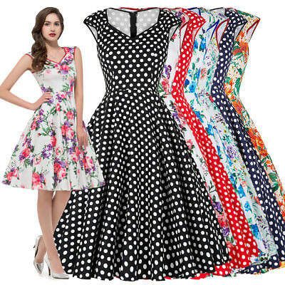 964225affc Women Vintage Retro 1950 s Floral Swing Party Evening Formal Midi Dress 50s  60s