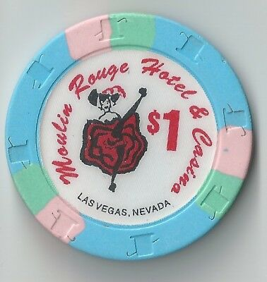 $1 Las Vegas Moulin Rouge Hotel 3Rd Edt Casino Chip Nevada Closed Woman Dancing