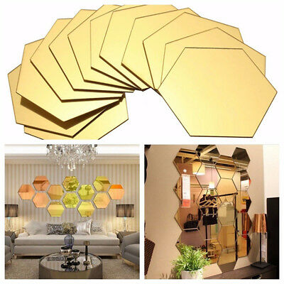 Wall Stickers 12Pcs 3D Mirror Hexagon Vinyl Removable Decal Home Decor Art DIY A