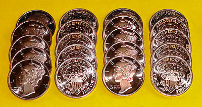 20 New Coins • MERCURY HEAD Design • 1 oz each .999 Fine Copper Bullion