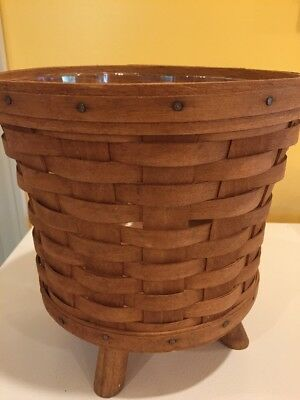 Longaberger Fern Basket With Wood Feet RARE USA With Protector