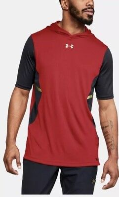 Mens Under Armour Select Half Sleeve Shooter Light Hoodie Red Sz XXL 1306001 600