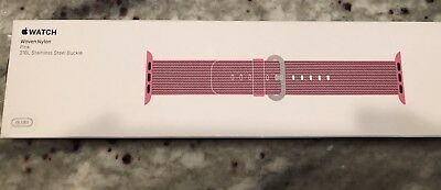 Apple Watch Band Woven Nylon Pink 316L stainless steel buckle 38 mm