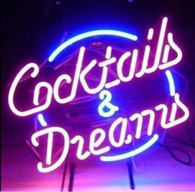 """New Cocktails And Dreams Beer Bar  Man Cave Neon Light Sign 17""""x14"""""""