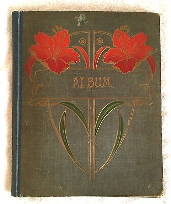 Antique Art Nouveau Lilies Floral Blank Photo Album 1912 Christmas Gift Vintage