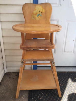 Vintage Storkline High Chair 1965's All Wood Dog Collectible