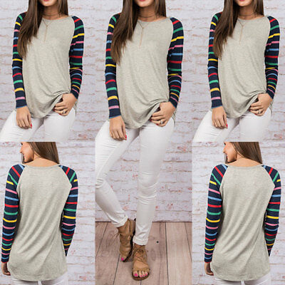 Women Ladies Long Sleeve Rainbow Striped T Shirt Loose Tops Blouse Pullover Tee