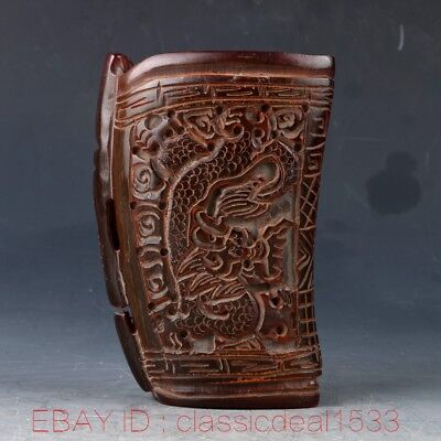 100% Natural Ox Horn Handwork Carved Dragon Cup MY0077