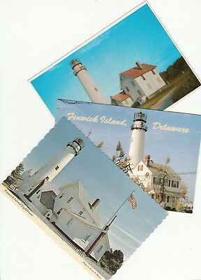 Lot of 3 Fenwick Island DE Delaware Vintage Era Postcards Lighthouse Light House