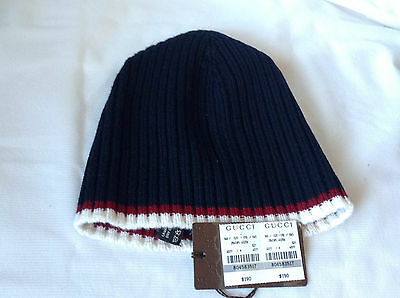 d529b75fa2c New Gucci 284585 Unisex Blue Lana Wool Ribbed Red White Stripe Beanie Hat  Size M