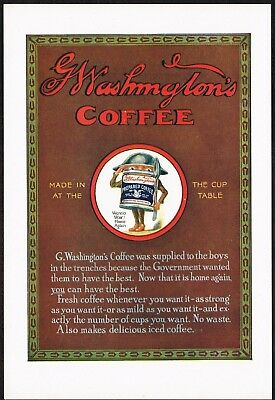 1910s Original Vintage G Washington's Coffee WW1 WWI Tin Soldier Art Print Ad