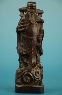 Chinese eaglewood hand-carved god of wealth Buddha Statue  /V b01