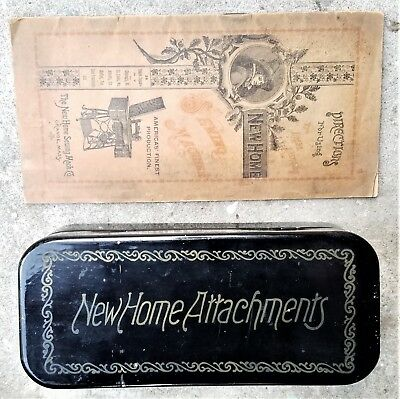 Antique New Home treadle sewing machine attachments and booklet