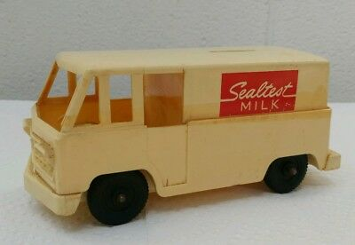 VINTAGE ANTIQUE SEALTEST DAIRY ICE CREAM MILK TOY DELIVERY TRUCK BANK OLD 1950s