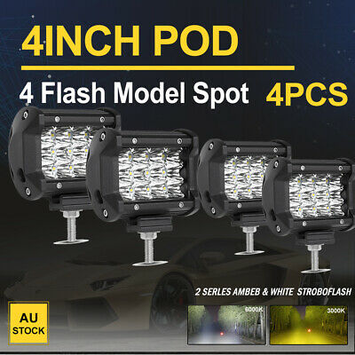 4x 4 inch 200W Lumileds LED Light Bar Spot Beam Triple Row Offroad Work Fog Lamp