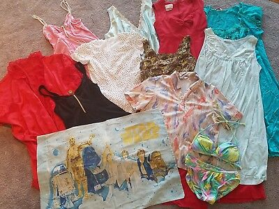 Vintage womens Clothing lot 1980s Dresses 12 pieces swimsuit night Gown S L XL