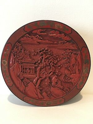 Chinese Antique Hand carved Cinnabar Box 19th Century