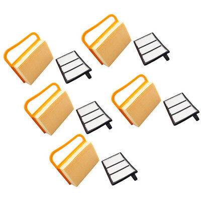 5 Pack Air Filter Set Fit For Stihl TS410 TS420 Includes Paper And Flock Filters