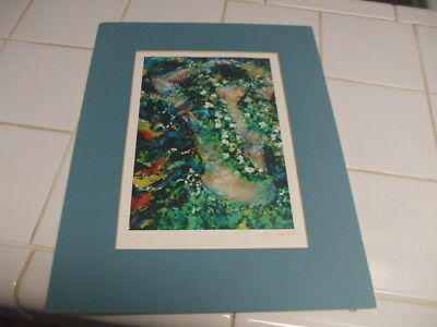 """HAWAII COLORFUL SIGNED 9"""" x 12"""" MATTED PICTURE IMAGE of HAWAIIAN HULA GIRL W/LEI"""