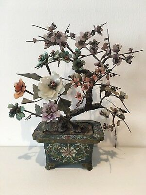 A Chinese Antique Jade Coral Turquoise Agate Stones Cloisonne Planter