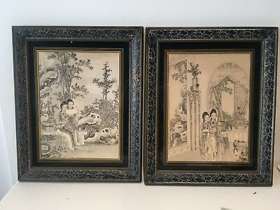 A Pair of Chinese Antique Mounted Detailed Painting Prints