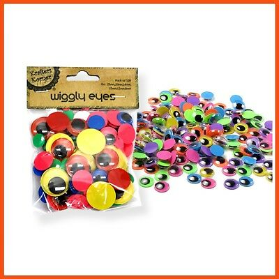 1200 x GOOGLY EYES   Assorted Colours & Sizes Wiggle Eyes Kid's Craft Scrapbook