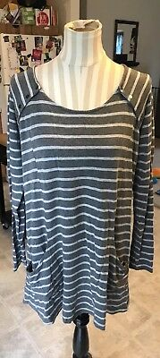 A Pea In The Pod Maternity Nursing Gray Stripe Long Sleeve Top Size L Large Soft